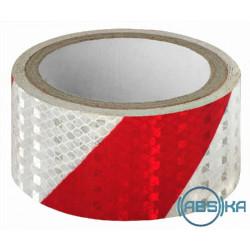 Светоотражающий скотч ширина 5 см, длина 50 м, красно-белый, скошенные полосы