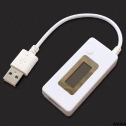 Цифровой тестер USB 3в1 вольтметр, амперметр, измеритель емкости (V, A, mAh) белый